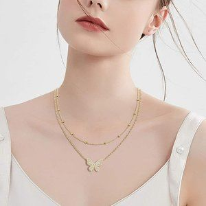 Layered Necklace 14K Gold Plated with Dainty